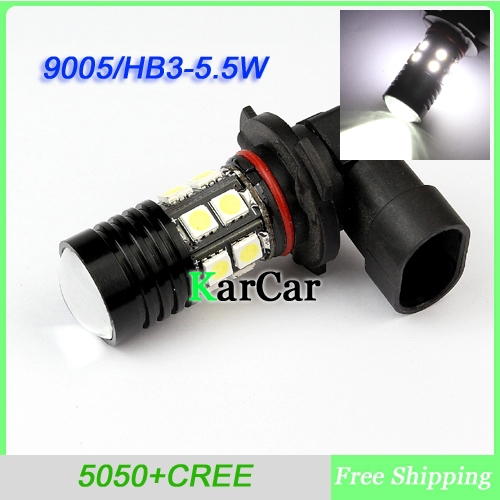 9005 HB3 5.5W 5050 SMD 12 LED + Cree chip XP-E with Lens Car Fog Headlight Day Running Main Beam Light Bulb Lamp White qvvcev 2pcs new car led fog lamps 60w 9005 hb3 auto foglight drl headlight daytime running light lamp bulb pure white dc12v