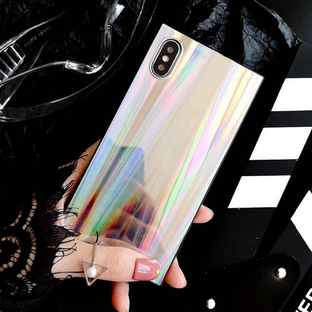 LOVECOM Laser Rainbow Shining Square Phone case For iPhone XS XR XS Max X 6 6S 7 8 Plus Soft IMD Back Cover Bags Coque Cases