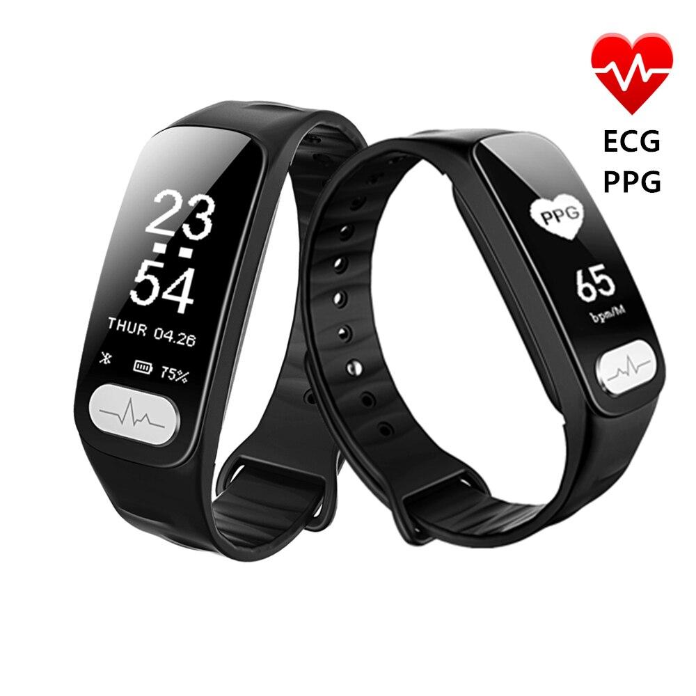 HUACP R11 ECG + PPG Fitness pulsera presión arterial HRV medidor de ritmo cardíaco Passometer Tracker impermeable Smart Band para Xiaomi IOS