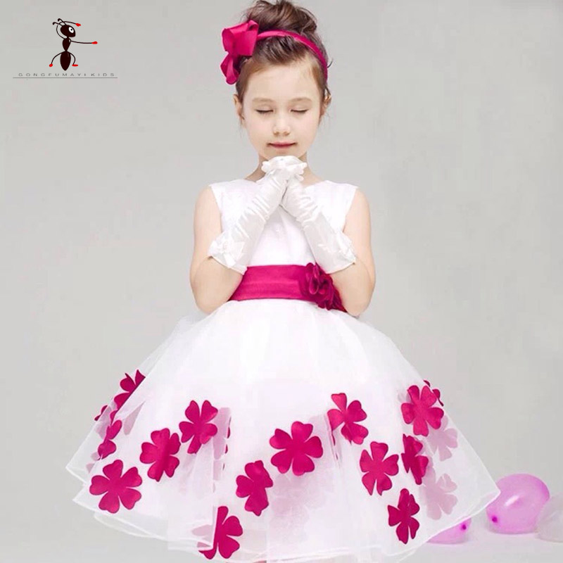 Kung Fu Ant girls Ball Gown Floral Dress Rose Purple Bowknot Knee-Length Belt Costume for Kids Roupas Infantis Menina L-42 women s kung fu tai chi martial arts suit wushu wing chun performance costumes