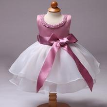 Baby Girl Toddler Dress Beaded Bow Kid Wedding Child Birthday Party