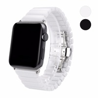 WAfeel Ceramic Watch Band for Apple Watch 38/42mm Series 1 2 3 Strap with Butterfly Buckle Black White Glossy Smart Watch Belt