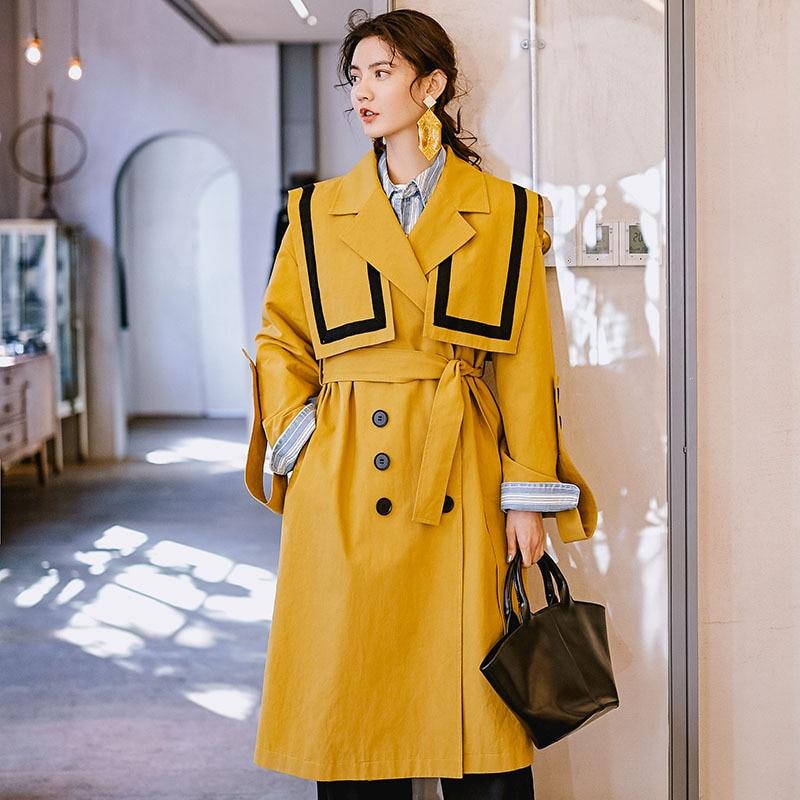 Trendy Navy Collar Design Spring Long Coat Women   Trench   Coat With Belt 2019 New Streetwear Fashion Oversized Womens Overcoat