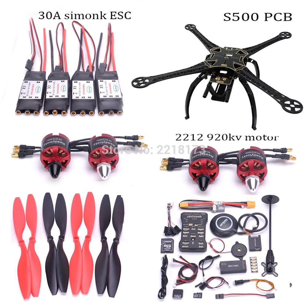 F450/S500/X500 500 мм Quadcopter кадров Комплект Pixhawk 2.4.8 32 бит Полет контроллер M8N PM 2212 920kv двигателя 30A simonk ESC