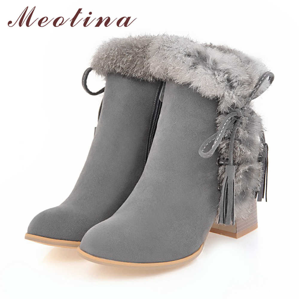 e6260f2691f Meotina Women Ankle Boots Winter High Heels Fur Bow Thick Heels Short Boots  Zipper Ladies Autumn Shoes Big Size 34-43 Black Gray