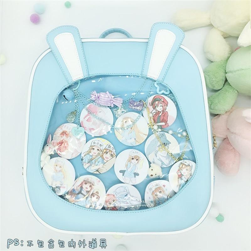 Korean Cute Rabbit Ears Lolita Itabag Shoulder Bag Transparent Schoolbag Student Travel Backpack PU School Bags Racksacks
