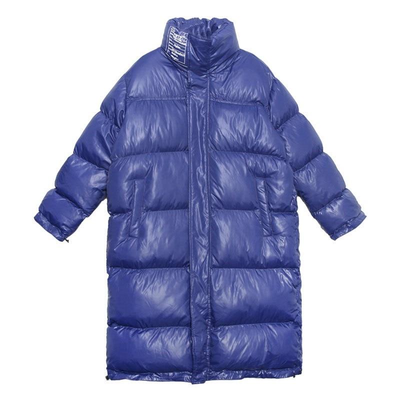 Dessus Long La Nouveau Du Plus Chaud Épaissir blue Genou Taille Fleurs Femmes Black Vêtements Hiver Lâche Femelle Manteau Streetwear Coton Parka Veste T7OqwSz
