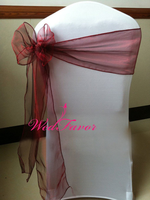 wedfavor 100pcs burgundy organza chair sash wedding chair bow sash