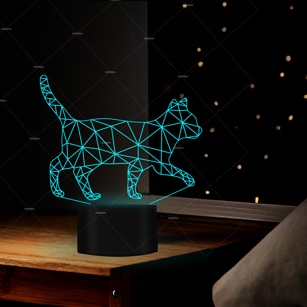 PET Addiction walking cat design illusion LED nightlight 7 changing colors LED lights as cat gifts for cat lovers все цены
