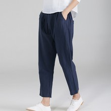 Womens Linen Trousers with Elastic Waist