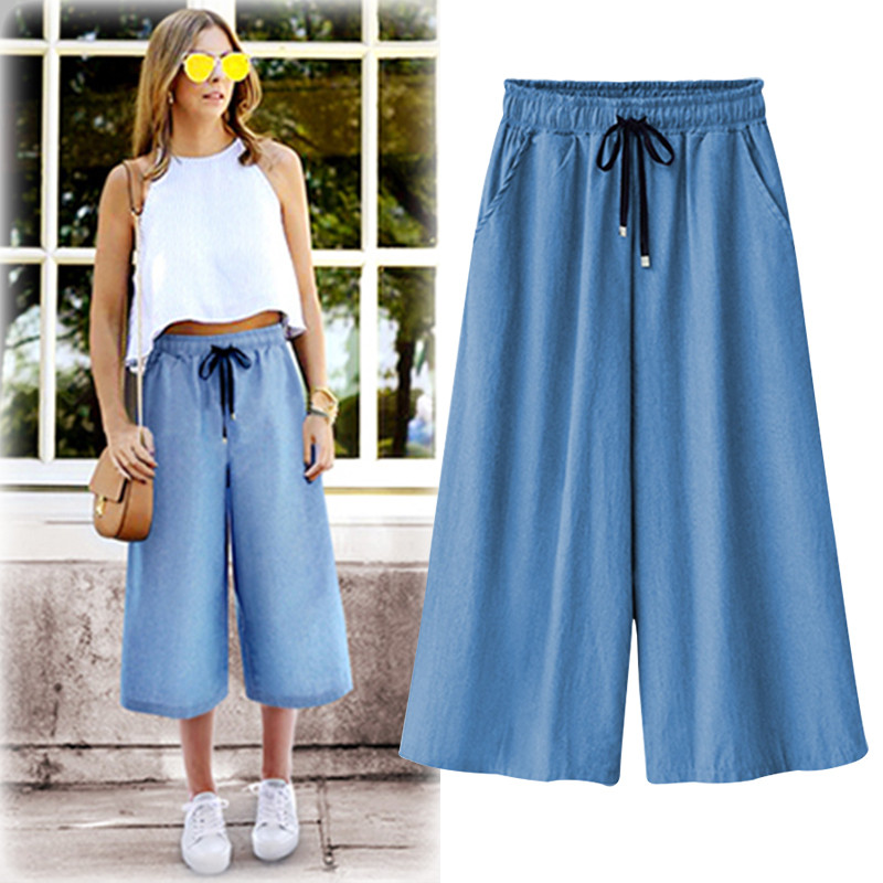 Women Cotton Wide leg   Pants   Loose Casual High Quality Summer   Pants   Solid Color   Capris   Trousers Plus Size M-6XL