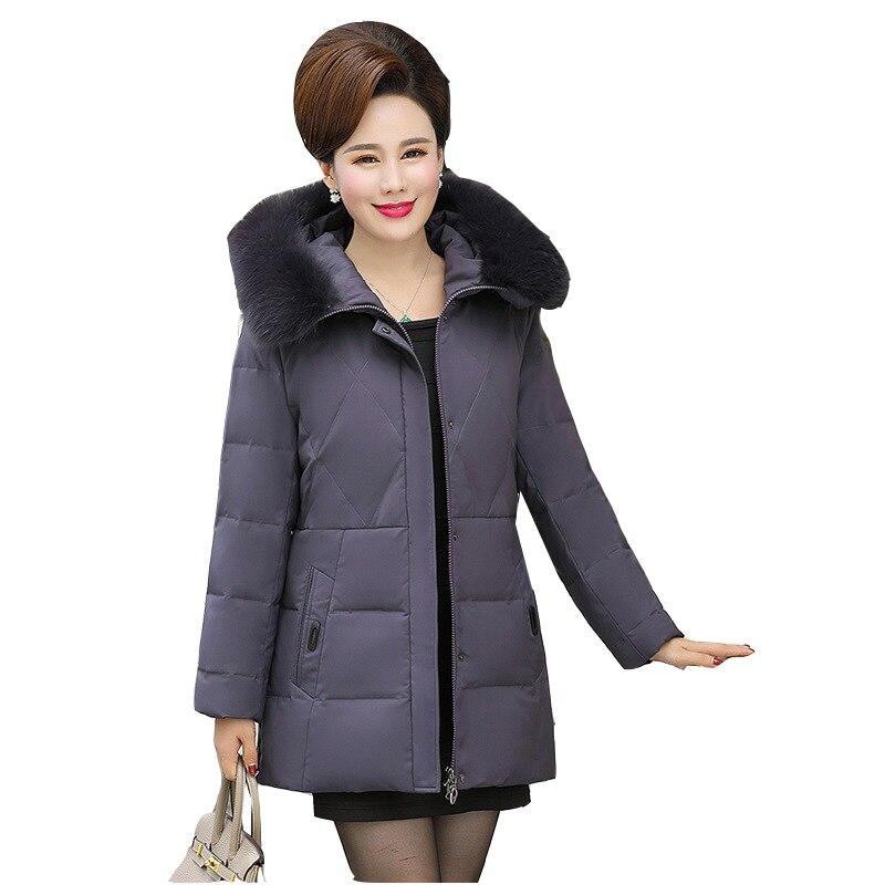 2019 новая зимняя куртка пуховик из белого утиного пуха Женская средней длины с капюшоном плюс размер куртка женская тонкая пуховая куртка из...