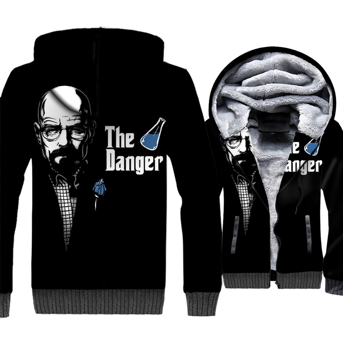 Breaking Bad Jacket Heisenberg Hoodie Men The Danger Sweatshirt Winter Thick Fleece Warm Zipper Coat Black 3D Print Streetwear