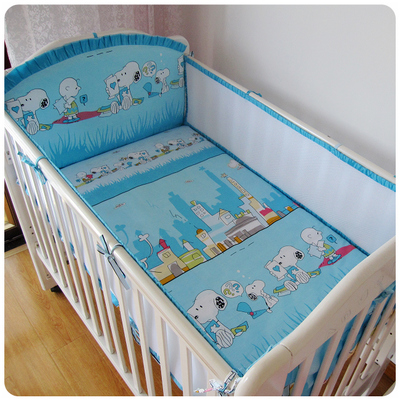 Promotion! 5PCS Mesh Crib Baby Bedding Set Newborn Cot Bumper Bedding Cotton Autumn And Winter(4bumpers+sheet)