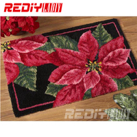 DIY Carpet Rug Red and Green Leaves 3D Latch Hook Rug Crocheting Tapestry 100% Acrylic Yarn Cushion Set for Embroidery Floor Mat