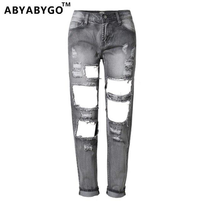 a38f0ee22638 ABYABYGO 2017 Marque Femmes Jeans Déchirés Boyfriend Trou Denim Pantalon  plus la Taille Serré Femelle Mi