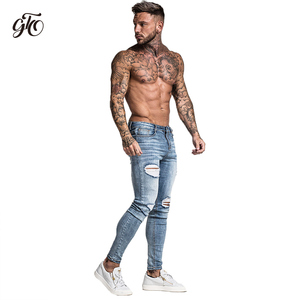 Image 5 - Gingtto Skinny Jeans For Men Faded Blue Ripped Distressed Stretch Hip Hop Slim Fit Pants Super Spray On Repaired Plus Size zm45