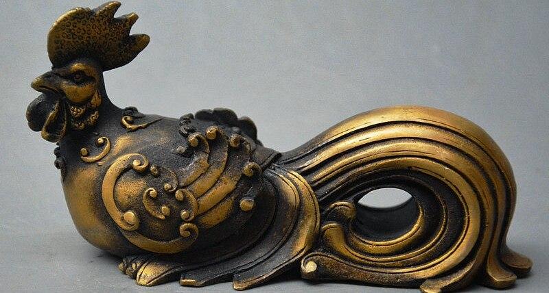 Popolare cinese di Rame Bronze Feng Shui Animale di Buon Auspicio Cazzo Chook Pollo StatuaPopolare cinese di Rame Bronze Feng Shui Animale di Buon Auspicio Cazzo Chook Pollo Statua