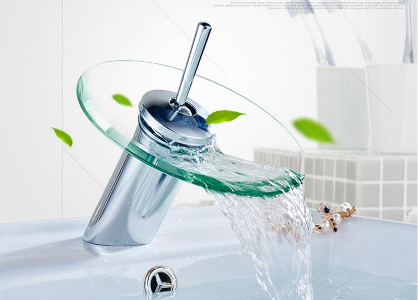 ФОТО high quality chrome fashion brass material bathroom water fall faucet with clear glass