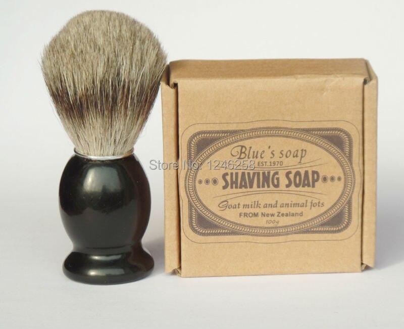 badger shaving brush with soap