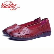 Xiuteng New Genuine Leather Flat Shoes Women Loafers Flats S