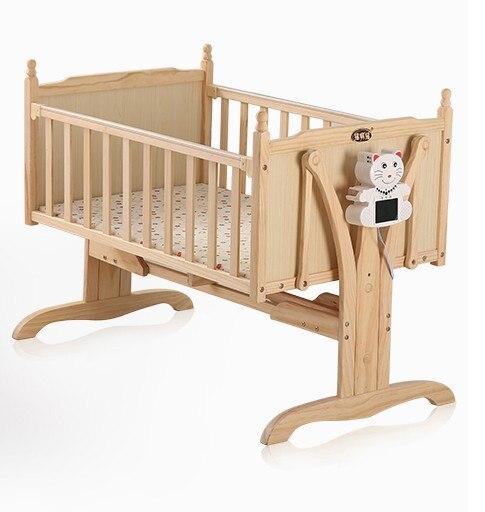 Электрический кроватки Автоматический Смарт-колыбель кровать твердой древесины лак Много ...