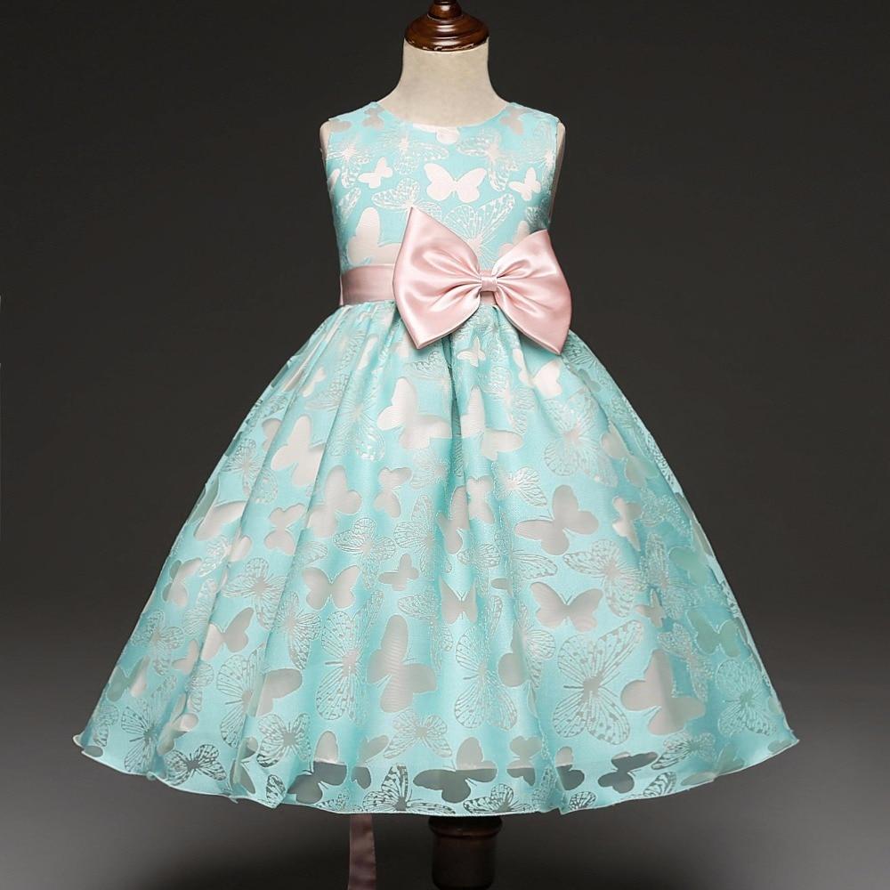 2018 New Bows 3D Butterfly Girl Flower Dresses Sleeveless Children ...