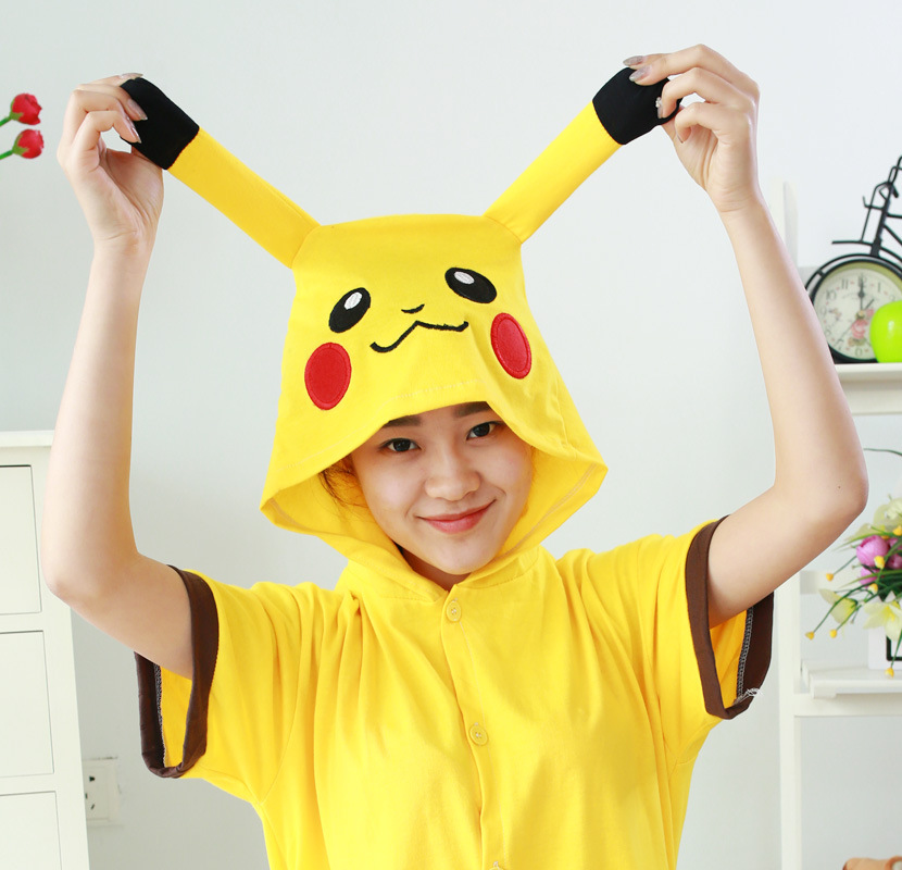Pokemon Pikachu Anime Cosplay Costume Summer Jumpsuit Short Sleeve Cartoon Animal Pajamas Pyjamas Onesies for Adults Sleepwear