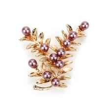 Joyería de moda para mujer, broche de oro Vintage de alta calidad, broche de perlas de imitación, broche de flor de lavanda, accesorios de fiesta de boda