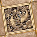 Free Shipping Wholesale and Retail Antique Brass Creative Dual Fish Carved Grate Waste Drain Square 10cm Bathroom  Drain Cover