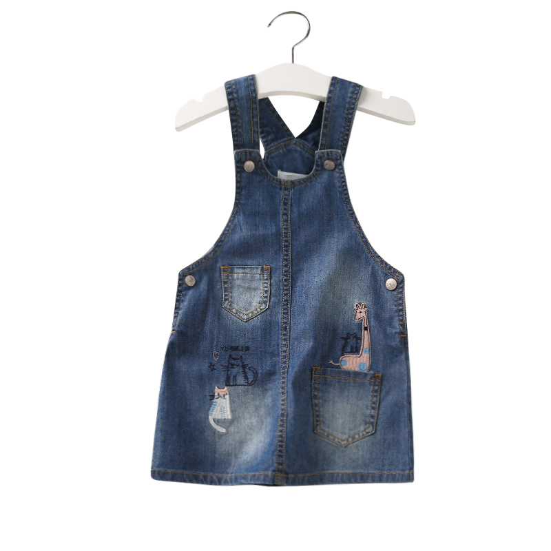 Spring Autumnn Denim Sundress For Girls Cowboy Dress Kids Clothes Cartoon Cat Giraffe Embroidery Baby Girls Overalls Jeans Dress girls jeans overalls for girl denim 2017 spring pocket jumpsuit bib pants children s hole jeans baby overall for kids 3 12 years
