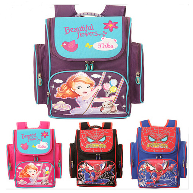 New Arrival good quality sofia spiderman School Bags Backpack primarly school student 1-6 for boys and girls