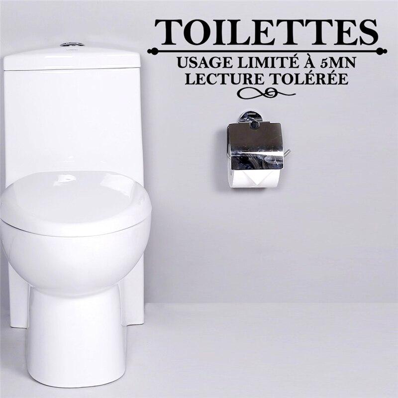 Французский туалетов котировки настенные наклейки для ванной Санузел использование Лимите 5 mn Туалет Wall Art декор DIY Съемный наклейки ...