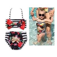 Summer Baby Swimsuit Fashion Floral Bow Designs Flower Beach Bikini Girls 2 Piece Set Swimwear For