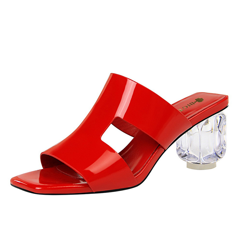 Luxury Women's Slippers Red Sexy Clear High Heel Sandals Leather Peep Design Crystal Transparent Female Nude Shoes Summer 2019