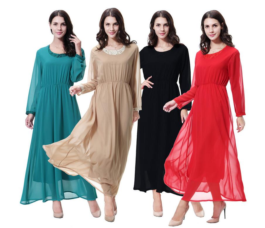 New Muslim Abaya Islamic Clothes Lady Chiffon Dress Muslim Abaya Dress Long Sleeve Pakistani Fashion Dress