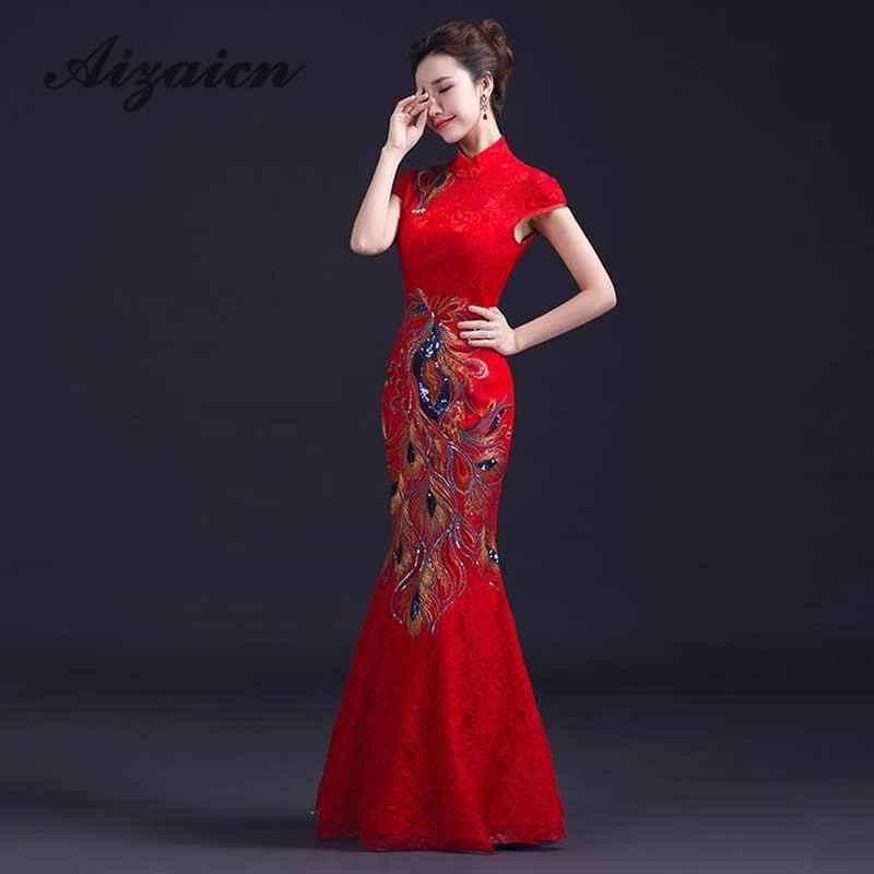 fa7e3c253 Chinese Traditional Wedding Dress Cheongsam Red Mermaid Plus Size Evening  Dress Lace Women Phoenix Embroidery Qipao