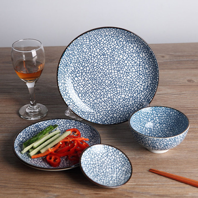 Ceramic Porcelain Plate Dish Set (4 pcs) Dinnerware with Ice Crack Pattern Japanese Style & Ceramic Porcelain Plate Dish Set (4 pcs) Dinnerware with Ice Crack ...