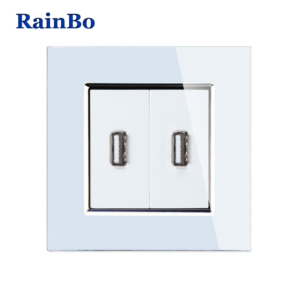 RainBo Brand Wall USB Socket Power NEW EU Wall Socket EU Standard USB Power Socket Crystal Glass Panel A182USW/B rainbo touch screen control tempered crystal glass panel wall light touch switch socket wall power usb socket a29118e2uscw b