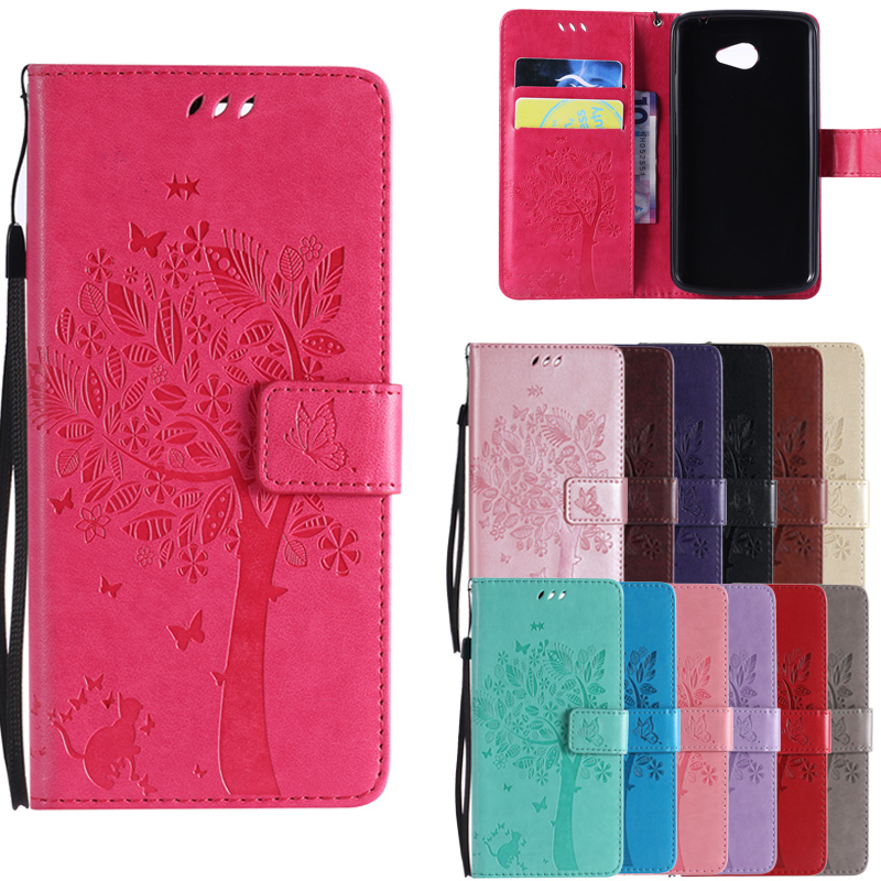 For LG K5 Phone Case Leather Wallet Flip Cover For LG K5 Case X220 <font><b>X220ds</b></font> Butterfly Cat tree 3D Embossed PU Luxury Cover image