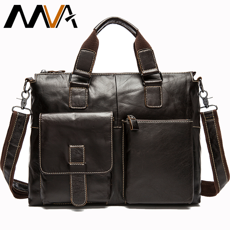MVA Messenger Bags Men's Genuine Leather Men Shoulder Casual Male Briefcases Crossbody Bags For Documents Satchel Laptop Man 260
