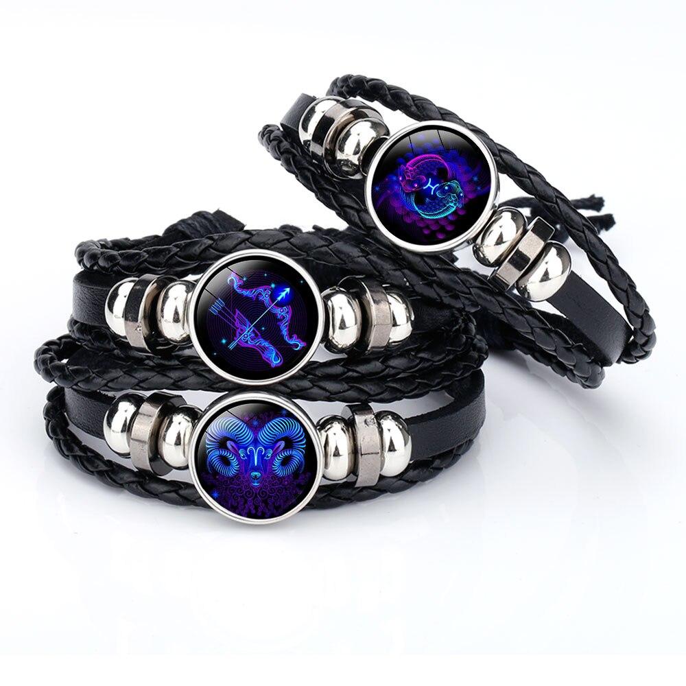 Jewelry & Accessories Los Enamor 12 Constellation Zodiac Sign Black Braided Leather Bracelet Cancer Leo Virgo Libra Glass Dome Jewelry Punk Bracelet Bracelets & Bangles