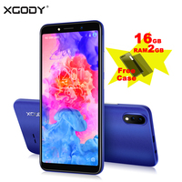 XGODY New 3G Smartphone Android 8.1 5.5 Inch 18:9 Full Screen MTK6580 Quad Core 2GB RAM 16GB ROM Dual 5MP Camera Mobile Phone