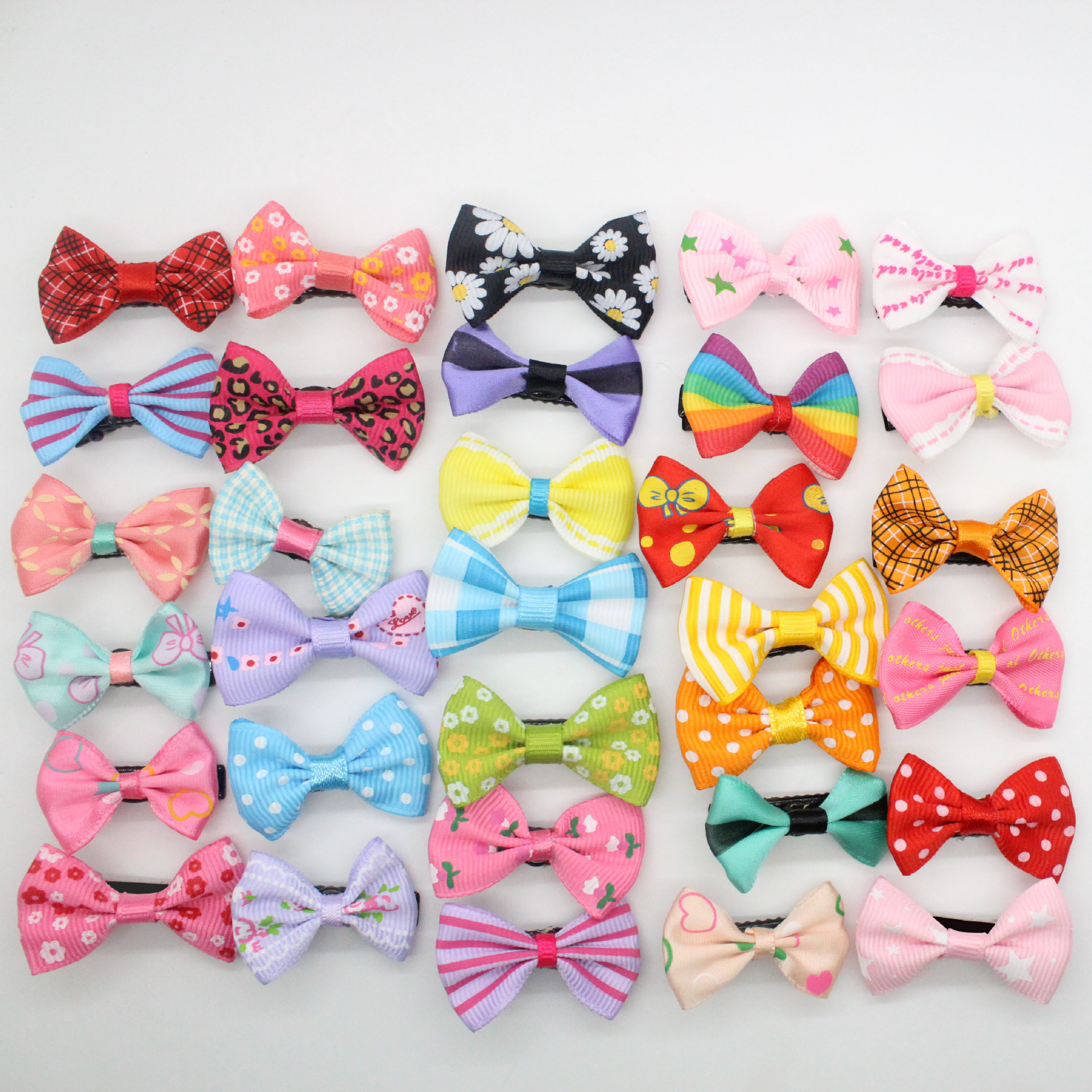 5Pcs/Lot Dog Kitten Puppy Cute Pet Grooming Solid Cotton Bow Flower Hairpins Butterfly Hair Clips Hair Barrette Accessories
