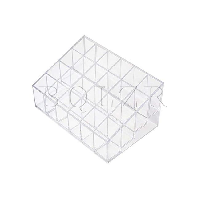 BQLZR Lipstick Display Stand Holder Transparent Plastic Trapezoid 24 Grids Display Stand Cosmetic Organizer Rack Strorage Box
