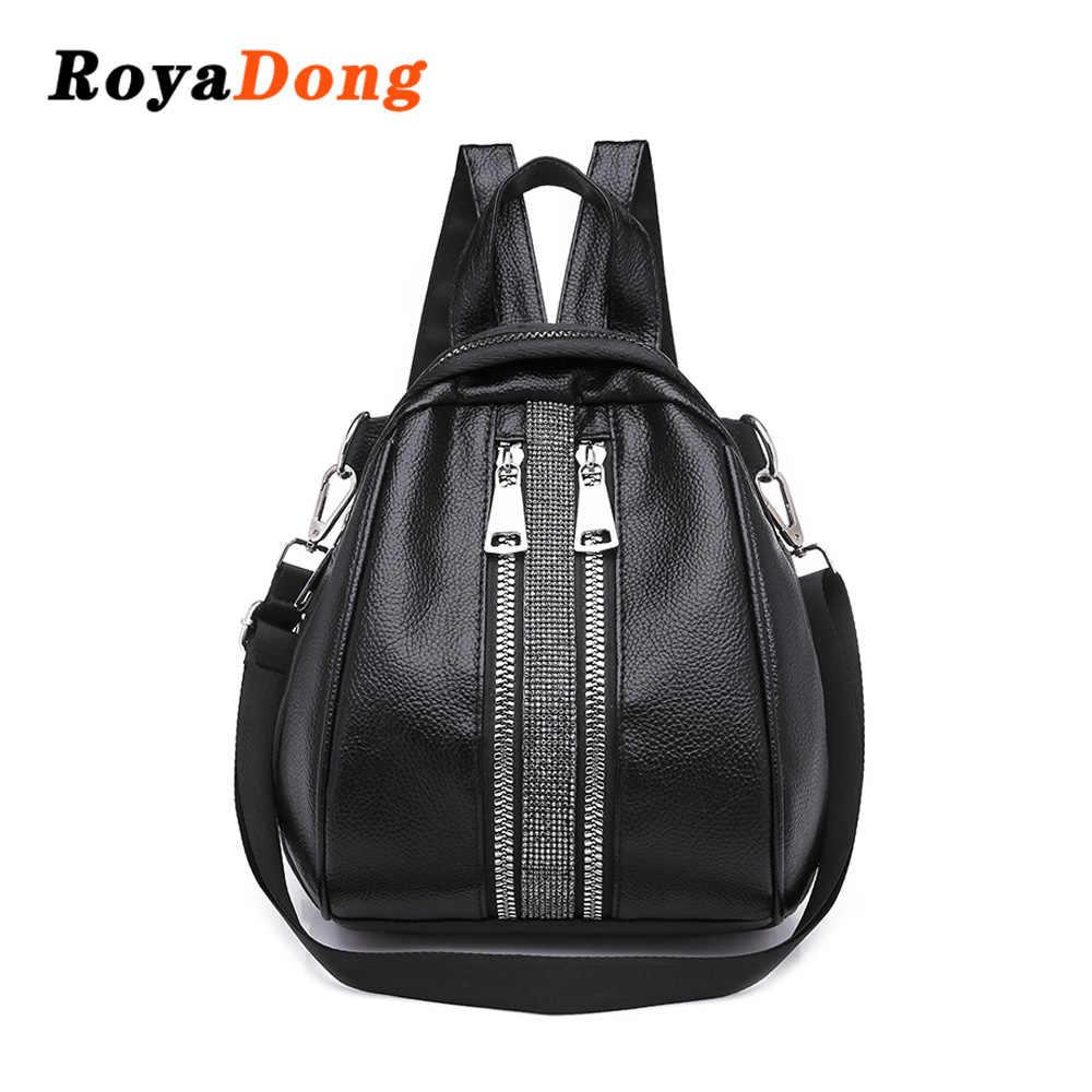 073e80c5bf83 Подробнее Обратная связь Вопросы о RoyaDong 2018 Новый Ретро мода молния  для женщин рюкзак из искусственной кожи высокое качество школьная сумка для  ...