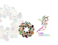 Coloured crystal brooch bride luxury Chinese redbud bauhinia brooches