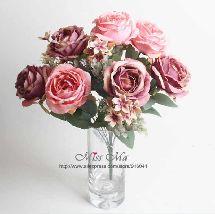 Indigo 12 heads pink rose bunch rose bouquet peony table indigo 12 heads pink rose bunch rose bouquet peony table decoration artificial flower wedding flower event party free shipping junglespirit Gallery