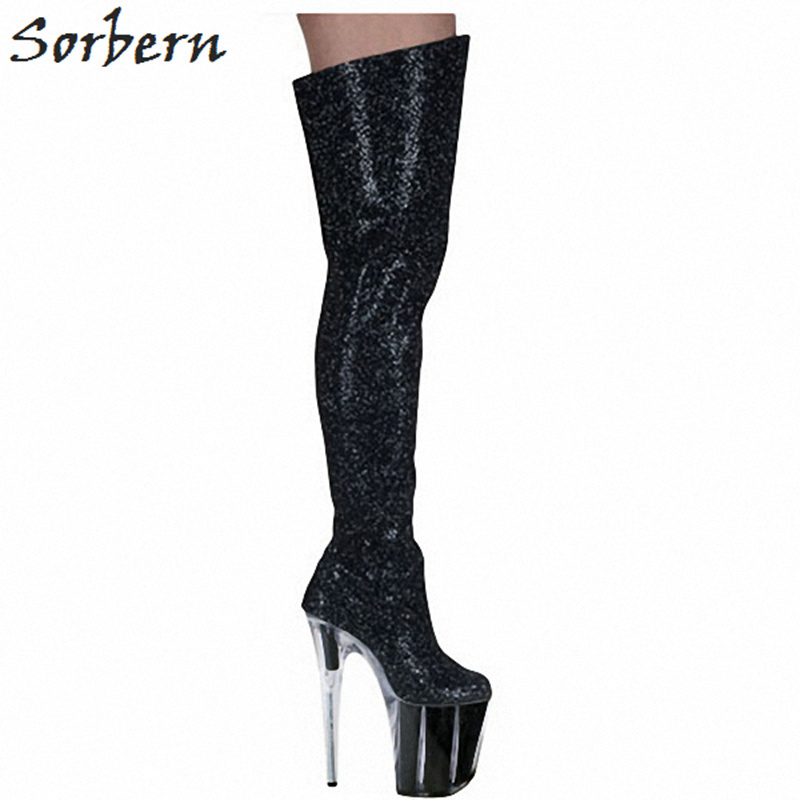 Sorbern Sexy Glitter Black Boots High Heels 20Cm Party Boots Pole Dance Shoes Sexy Boots Plus Size Women Closer Shoes Size 35 20cm pole dancing sexy ultra high knee high boots with pure color sexy dancer high heeled lap dancing shoes