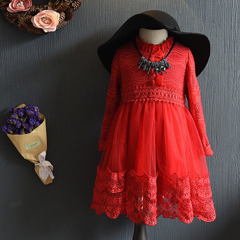 Toddler Girls Clothes High Grade Baby Kids Long Sleeve Soild Red/Gray Lace Princess Dress Newest Children Wedding Party Dresses